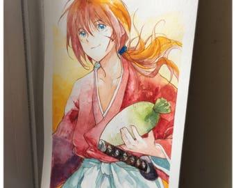 """Himura Kenshin Watercolor Postcard 8""""x5"""" - Rurouni Kenshin"""