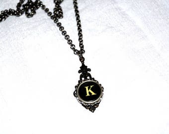 Typewriter Key Necklace, Personalized Initial Necklace with a Letter K, Gift for Her, Typography Jewelry.
