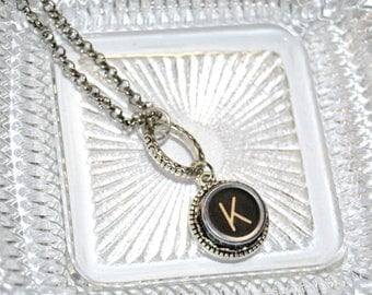 Typewriter Key Initial Necklace Personalized with a Letter K, Art Deco Vintage Style, Typography Jewelry.
