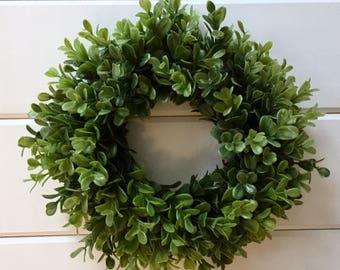 Farmhouse Faux Greenery Boxwood Wreath | Small Wreath | Fixer Upper Style