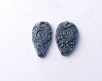 Finest Crochet, Ceramic Dangles,  Earring Pair, pendants, vintage lace, Blue Porcelain Lace, Earring Tags, Donna Perlinplim, Cobalt Oxide