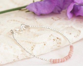 Pink Opal Bracelet, October Birthstone, Dainty Opal bracelet, Opal Jewellery, Opal bracelets