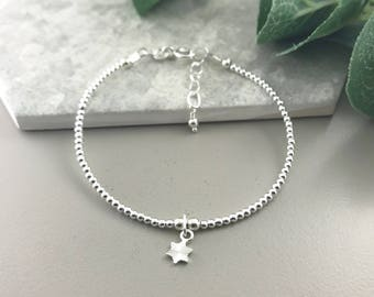 Stacking Charm Bracelet, Sterling Silver Charm Bracelet, dainty charm bracelet, Dainty jewellery, stacking bracelet with charm