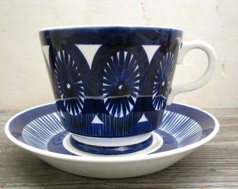 Arabia Finland Large Cup + Saucer Fiesta 1960s 70s – Scandinavian Modern Finnish – Vintage Mid Century Design – Blue & White – Ulla Procope