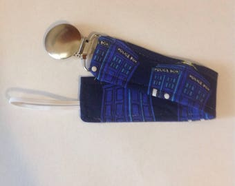 Baby Boy Girl Pacifier Clip Holder Leash Doctor Who Tardis British Police Box Blue OR Doctor Who Tardis British Police Box White PICK ONE