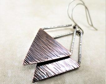 Mixed Metal Earrings ~ Geometric Earrings ~ Copper Earrings ~ Triangle Earrings ~ Dangle Earrings ~ Rustic Earrings ~ Silver Earrings