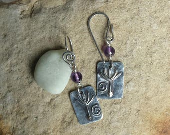 Sterling Silver Dandelion Seed earrings with Amethyst beads