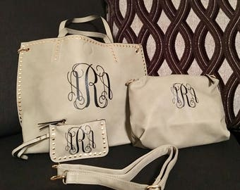 Personalized Intertwined Monogramed Grey Purse with Small Hand Bag and Change Purse - Diaper bag