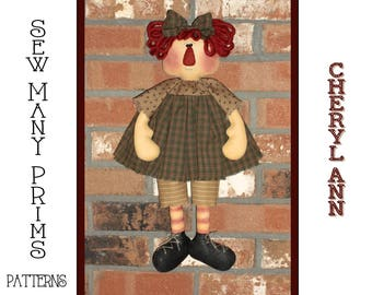 Raggedy Doll PATTERN - Cheryl Ann - Sew Many Prims - instant download