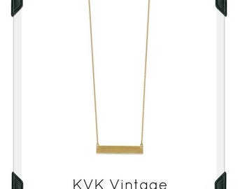 14 Karat Gold Plated Engravable Bar Necklace