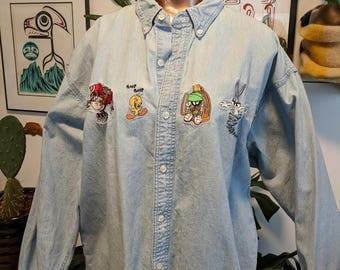 Vintage 90's Looney Tunes Denim Shirt