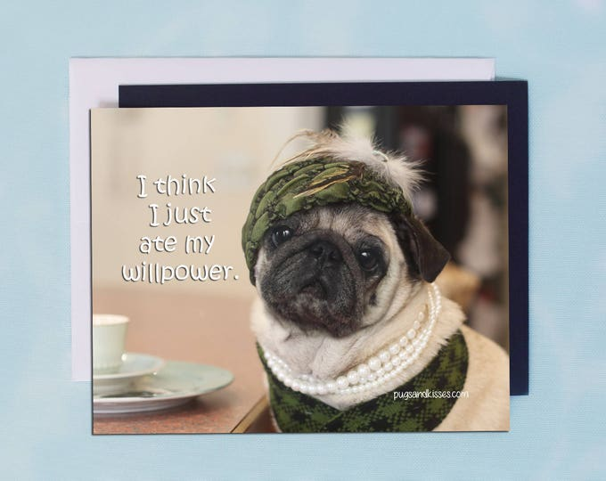 Pug Magnet - I Think I Just Ate My Willpower - 5 x 4 Pug magnet - by Pugs and Kisses