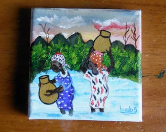 Miniature Painting--Scene of Women getting Water, rural West Africa