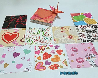 "100 Sheets 3"" x 3"" Multi-colored Heart-Love Design Paper Folding Kit for Origami Cranes ""Tsuru"". (JD paper series). #CRK-88c."