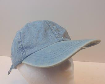 Denim Low profile 90s blue jean hat cap light blue distressed