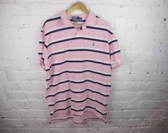 Pink 90s Polo Ralph Lauren vintage mens shirt