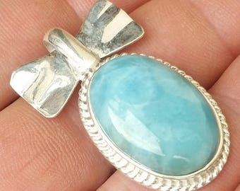 STRONG blue  jewelry larimar 925 sterling silver  PENDANT #-12