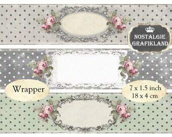 Frames Wrapper digital printable Soap Packaging Wraps editable blank Labels Instant Download digital collage sheet E150