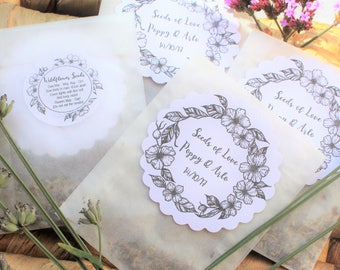 Wedding Favours Wildflower Seed Personalised Glassine Bags Set of 10 Bags with tags (no seeds included)