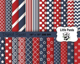 70% OFF SALE 4th of July Digital Paper Pack 24 jpg files 12 x 12  - Instant Download - D217