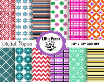 60% OFF SALE Vacation Digital Paper Pack, Scrapbook Papers, 12 jpg files 12 x 12  - Instant Download - D25