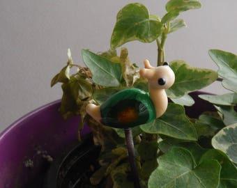 glass snail plant stake, fairy garden,  hair stake, cake decoration, gift for gardener, small gift, cute gift