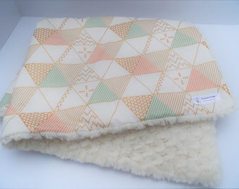 Beautiful Blush, Mint, Gold, Ivory Baby Girl Blanket - Pyramid/Triangles- Large Baby Blanket -Ivory Tile Minky -Baby Girl Gift-Ready to Ship