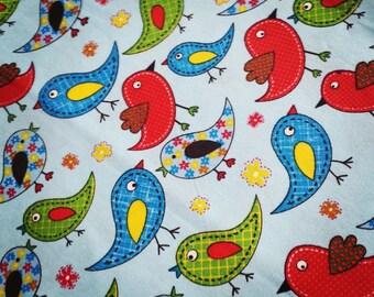 Fabric cotton birds theme