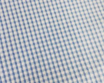 Fabric blue gingham cotton
