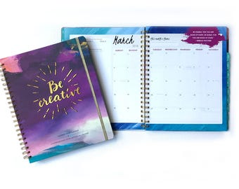 2018 Monthly Planner - Monthly Weekly Planner Goal-setting + Calendar - Be Creative Inspired Year Planner