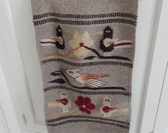 Southwestern Native American Wool Tapestry Wall Hanging or Rug - Tight Weave Rug Bird Pattern Native American Indian - Mexican Mid Century