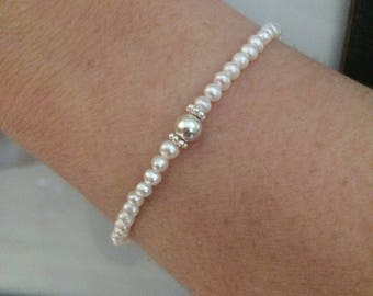 Tiny Freshwater pearl stretch bracelet Sterling Silver bead simple bridal bracelet small seed pearl bracelet wedding bridesmaid jewelry gift
