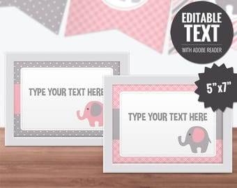 Elephant Place Cards - Editable Baby Shower Signs - Buffet Cards - Printable Food Cards - Pink and Gray Table Signs - Baby Girl Decor