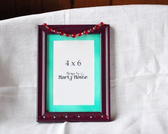 Picture Frame/4x6 Picture Frame/Purple Frame/Plum Picture Frame/Valentine Picture Frame/Picture Frame 4x6/Gothic Picture Frame/Romantic