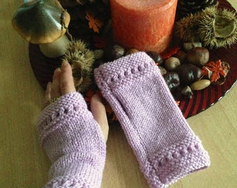 Short semi-ajourees hand knit fingerless gloves pink
