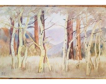 Original Watercolor of Birch Trees, signed M.E.