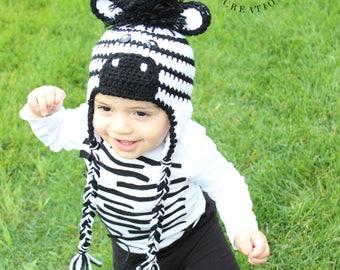 HAT and BODYSUIT Set Crochet Zebra Hat Baby Boy Baby Girl Zebra Hat Ear Flap Zebra Hat Toddler Zebra Beanie