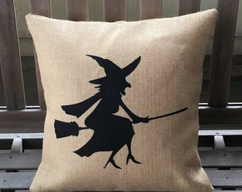 SALE Burlap Witch Pillow - Halloween Pillow -Ships Within 3 DAYS!