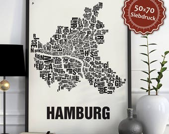Hamburg Typographic Map Screen Print