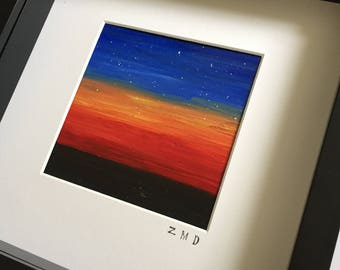 Original Framed Oil Painting - Space Sunset