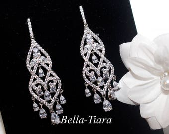 crystal chandelier earrings, bridal chandelier earrings, Swarovski crystal bridal earrings, crystal earrings, bridal earrings