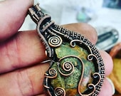 Early Christmas SALE Wire Wrapped Ammonite Fossil! Coiled Copper Jewelry - Fossil - Handmade - Reversible!