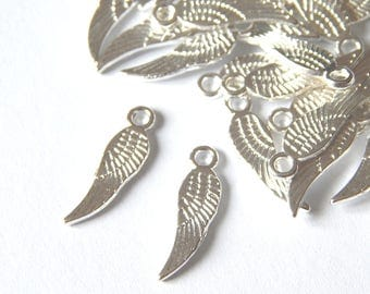 Silver tone 17x5mm feather wings charms