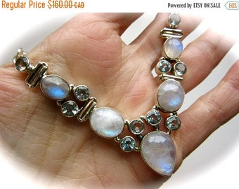 ONSALE Rainbow Moonstone and Blue Topaz Sterling Silver Chain Necklace 23g