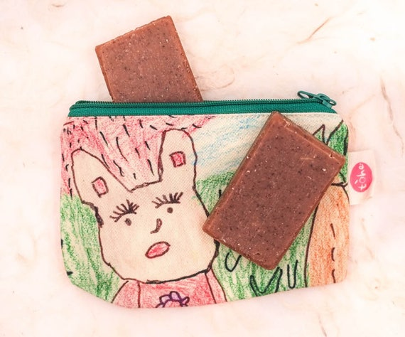 Hand Painted Canvas Zip Pouch | Designed & Created by Disadvantage Children and Women of Vietnam | Includes Two 1oz Vanilla Soaps
