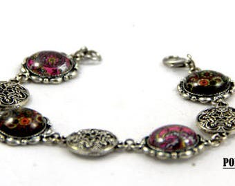 Vintage glass cabochon chain bracelet