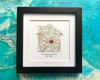 Framed House Map - Choose Map and Text - 5x5 Frame - Housewarming Gift - House Shaped Map- Gallery Wall Art - Framed Map Gift - Wedding Gift