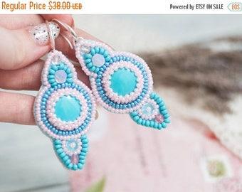 ON SALE Blue Beadwork Earrings Seed Beed Earrings Bead embroidery Earring Turquoise Pink Earrings Dangle Earring Blue Pink Jewelry Sterling