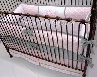 Pink & Gray Baby Bedding Set :Chloe
