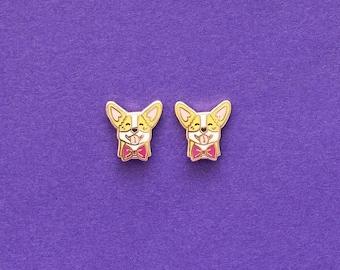 Corgi Enamel Earrings with Rubber Stud // Hard Enamel, Jewelry, Studs